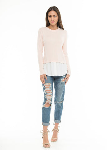Long Sleeve Crew Neck Knit Top with Contrast Hem in Blush | Love Token US