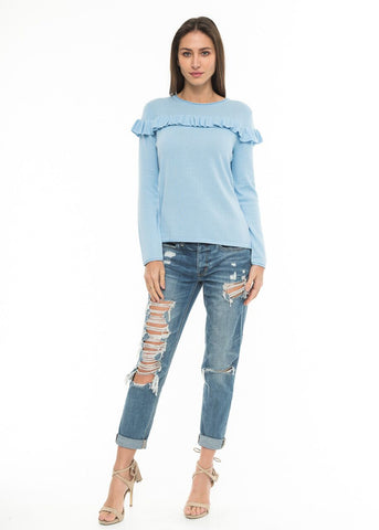 Knitted Top with Ruffle Detail in Baby Blue | Love Token US