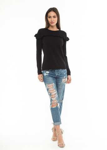 Knitted Top with Ruffle Detail in Black | Love Token US