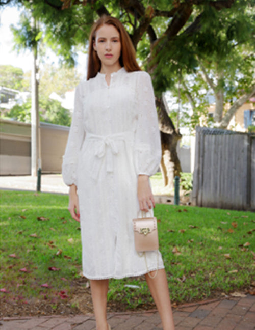 Sabrina Embroidered Shirt Dress - White