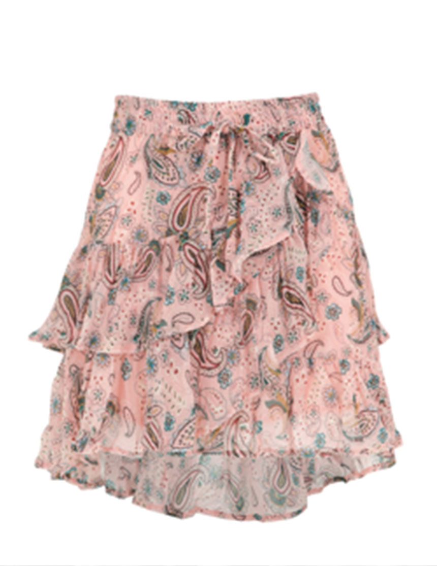 Frill-The-Way Round Skirt - Pink