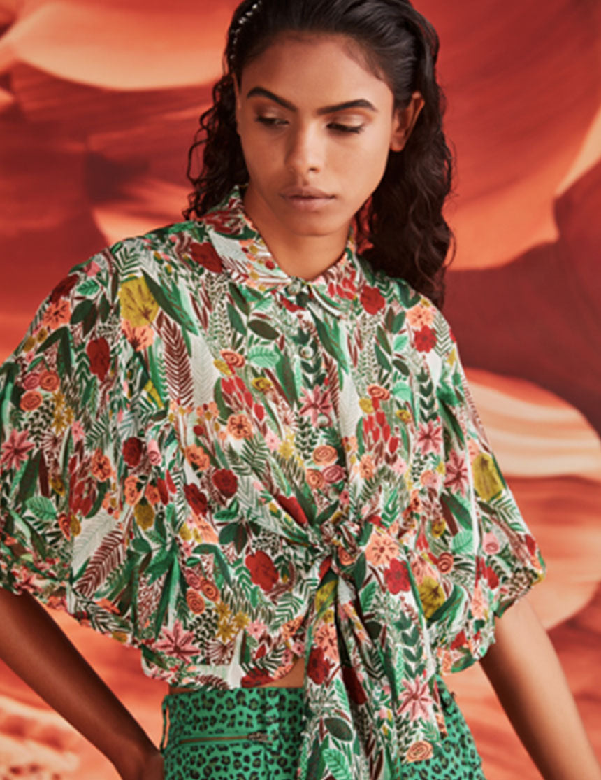 Frill For All Top - Green Floral