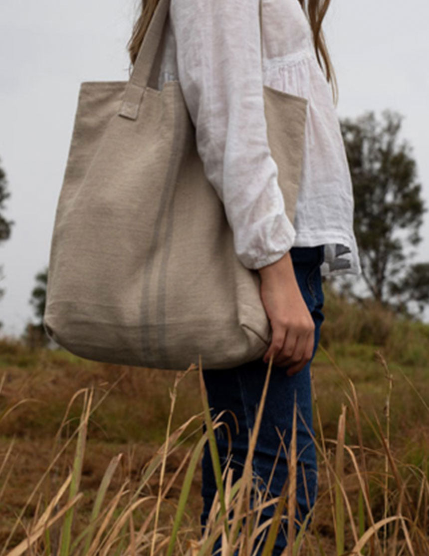 Septembre Linen Tote - Grey Stripe