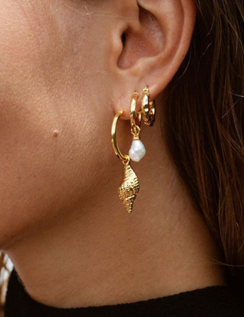 Wipeout Shell Earrings - Gold