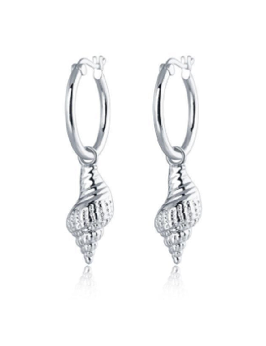 Wipeout Shell Earrings - Silver