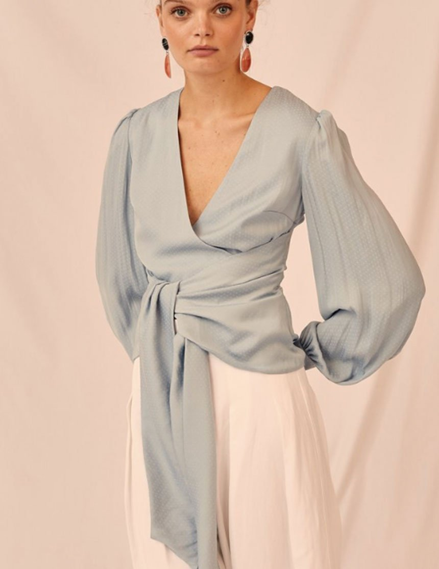Gracious Long-Sleeved Top - Powder Blue