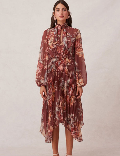 Unravel Long Sleeved Dress - Chocolate Tea Lily