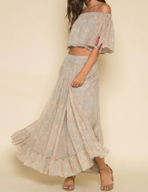 Whispered Dreams Skirt - Washed Blue