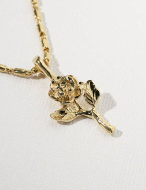 Little Rose Charm Necklace - Gold