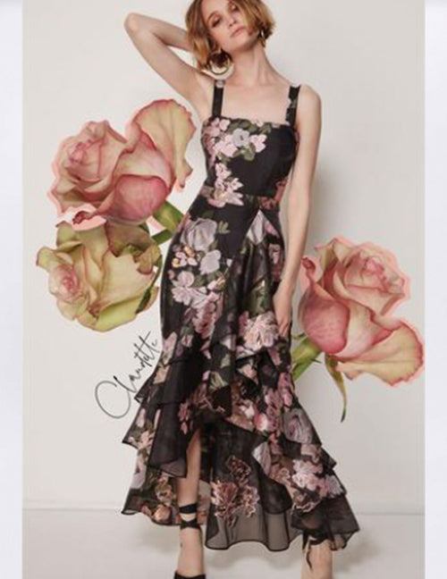 Claudette Maxi Dress - Black Rose