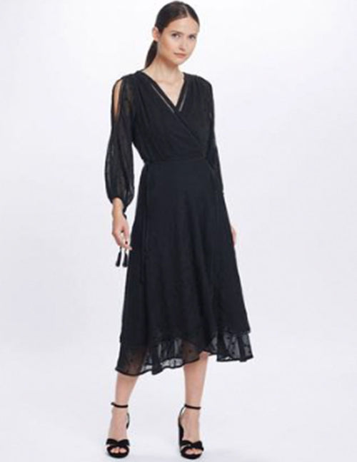 Coco Split Sleeve Midi Dress - Black Lily
