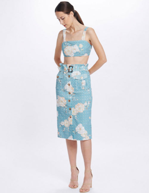 Lulu Pencil Skirt - Teal Posy
