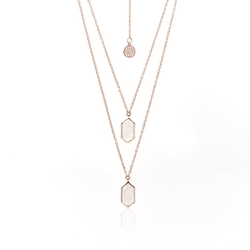Haveli Moonstone/Rose Gold Necklace