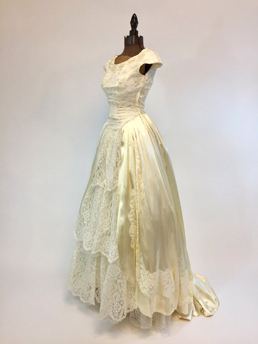 """The Duchess"" Vintage Satin and Lace Wedding Dress - Antiquaire Boutique"