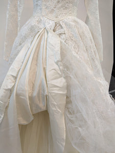 April 1960s Tiered Lace Wedding Dress, Size M