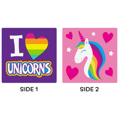 Purple I Heart Unicorns Flip Sequin Pillow on sale at Bulk Toy Store