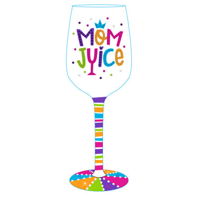 Mom Juice Hand Painted Wine Glass on sale at Bulk Toy Store