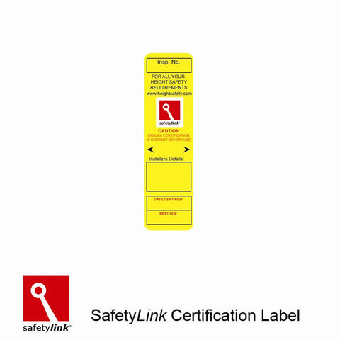 LABEL001 : Certification label for  Roof Anchors
