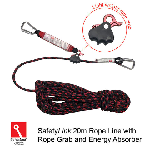 20m RopeLine with rope adjuster and energy absorber