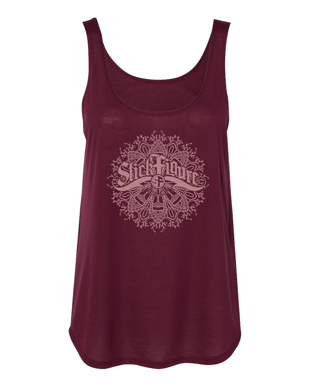 Women's Mandala Side Slit Tank (Maroon)