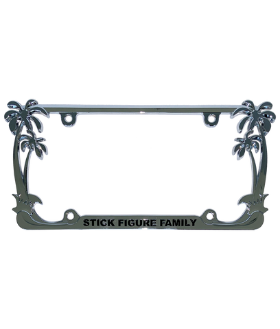 Stick Figure Family Metal License Plate Frame