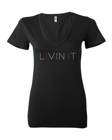 Women's Livin it V-Neck Tee (Black)