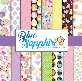 Easter Patterned Vinyl – Glossy - PV50007 - Blue Sapphire