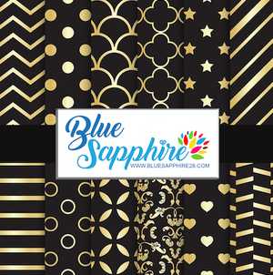 Black and Gold Patterned HTV - PV60002 - Blue Sapphire