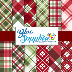 Plaid Patterned Vinyl – Glossy - PV514 - Blue Sapphire