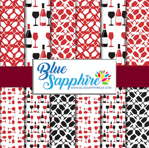 Wine Patterned HTV - PV50019 - Blue Sapphire