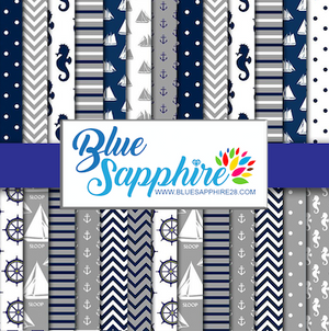 Nautical Patterned Vinyl – Glossy - PV50041 - Blue Sapphire