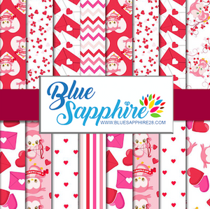 Valentines Patterned Vinyl – Glossy - PV50037 - Blue Sapphire