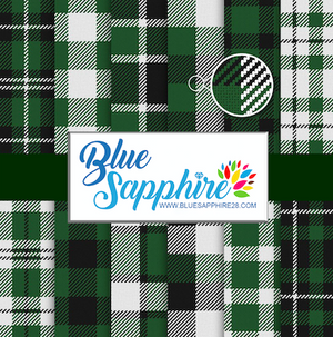 Green Plaid Patterned HTV - PV60015 - Blue Sapphire
