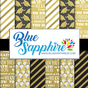 Graduation Patterned Vinyl – Glossy - PV50040 - Blue Sapphire