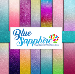Ombre Glitter Patterned HTV - PV65001 - Blue Sapphire