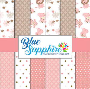 Baby Elephant Patterned Vinyl – Glossy - PV50039 - Blue Sapphire