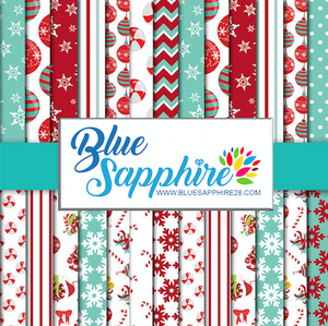 Christmas Patterned Vinyl – Glossy - PV50032 - Blue Sapphire