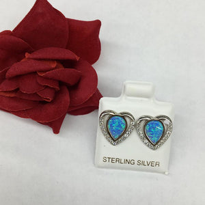 Heart Opal Earrings