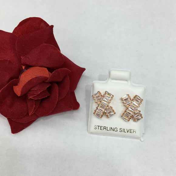 Rose CZ X Earrings