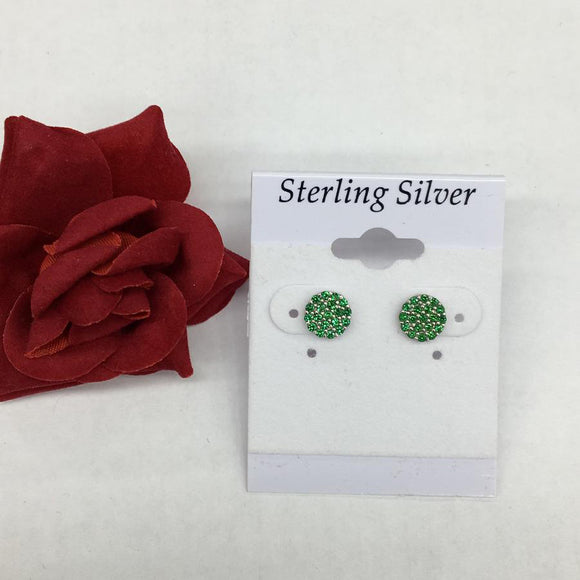Mini Pave Green Earrings
