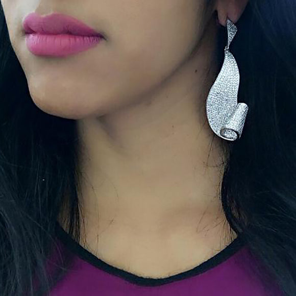 White Gold Cz Ribbon Drop Earrings
