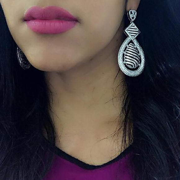 Intricate White Gold Drop Earrings