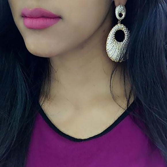 Gold Conch Shaped Cz Drop Earrings