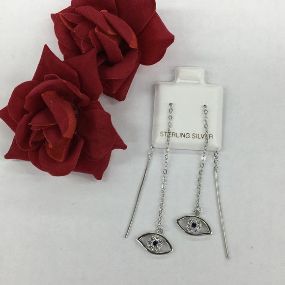 Silver Needle & Thread Eye Earrings