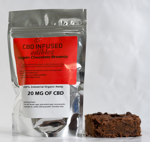 (1 Piece) 20 MG CBD Vegan Chocolate Brownie