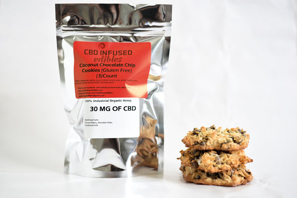 (3 Piece) 30 MG CBD Coconut Chocolate Chip Cookie Gluten Free