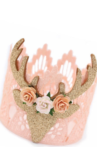 Boho deer flower lace crown