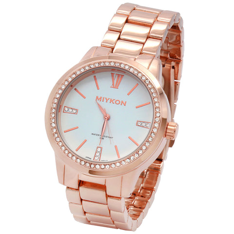 3f1f717bd37f0 Miykon R Gold  White cz Dial Metal Band 30m Water Resistant Quartz Wrist  Watch