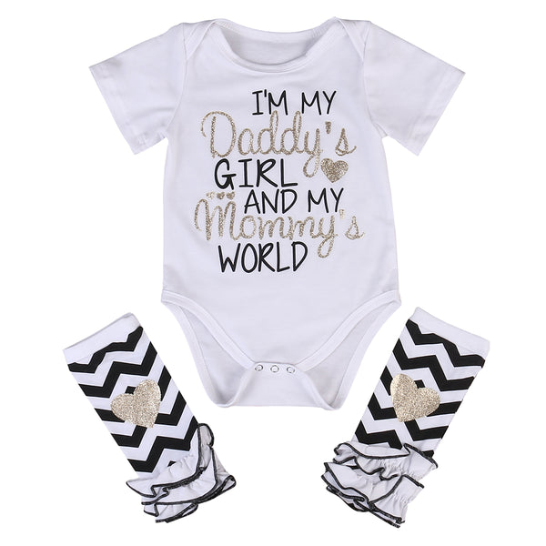 Daddy's Girl Mommy's World Romper + Leggings