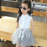 2PCS  Girls Lace Shirt Tops and Skirt